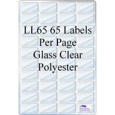 Gloss Clear Polyester LL65 65 Labels - 20 Sheets