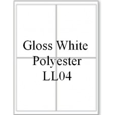 Gloss White Polyester LL04 4 Labels Per Sheet 10 Sheets