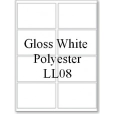 Gloss White Polyester LL08 8 Labels Per Sheet 50 Sheets