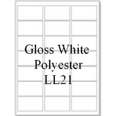 Gloss White Polyester LL21 21 Labels Per Sheet 20 Sheets