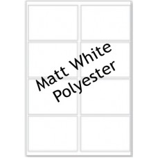 Matt White Polyester LL08 8 Labels Per Sheet -  50 Sheets