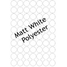 Matt White Polyester LL25c 70 Round Labels Per Sheet -  5 Sheets